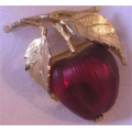 Napier Apple Brooch Lucite Fruit Vintage