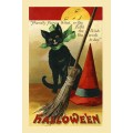Halloween, Black Cat Postcard